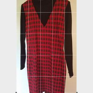 RED/BLACK PLAID 1 PIECE LONG SLEEVE ZIP UP DRESS